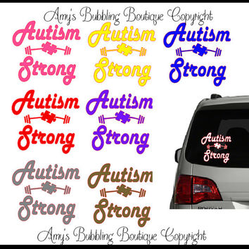 Autism Awareness Car Decal - Autism Strong Support Puzzle Piece & Weights Educational Vinyl Car Window Sticker Choice of Colors