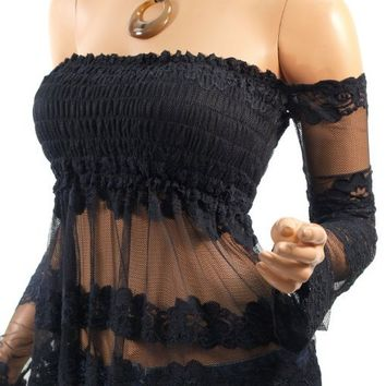 PattyBoutik Women's Lace Smocked Off Shoulder Top (Black S)