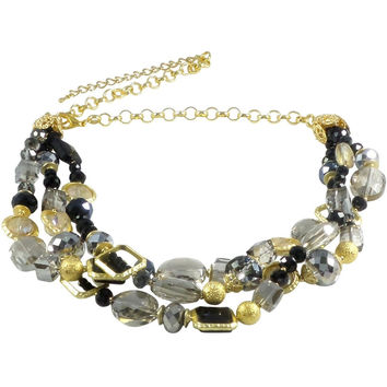 "Necklace Handcrafted Glass and Crystal Beads 23"" Adjustable (Black)"