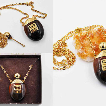 Vintage Givenchy PNY Perfume Pendant Necklace, Givenchy Parfum III, Dated 1977, Perfume Bottle, Tortoise, Logo, Original Box! #c229