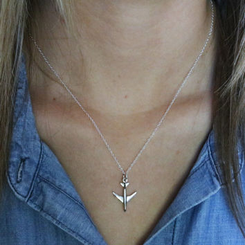 Airplane Necklace - Sterling Silver Airplane Charm Necklace - Jet Necklace - World Traveler Gift - Flight Attendant Gift -Jet Plane Necklace