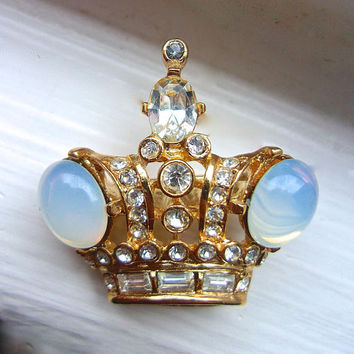 BUTLER and WILSON B&W Crown Brooch-Pin, Opalescent Cabochons, Vintage