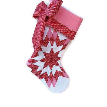 Lone Star Christmas Stocking, Quilt Christmas Stocking, Pink and Red Christmas Stocking, Bow Stocking