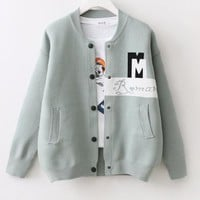 Female Sweater Jacket Button Casual Knitted Cardigans Letters Patchwork Cardigans Fall Knit Outwear