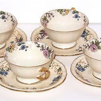 RS Germany Tillowitz Porcelain Cup Saucer Palacechina Primavera Antique SET 4