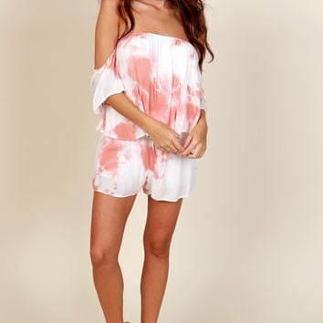Free Spirit Tie Dye Romper Orange