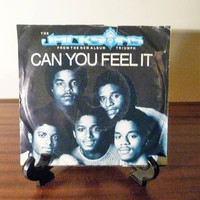 """Vintage 1980 The Jacksons """"Can You Feel It"""" 45 Record Album / """"Bless His Soul"""" / Retro Double Sided Single Album / Michael Jackson"""