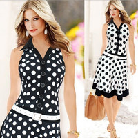 Women Autumn Celebrity Pinup Polka Dot Dress Elegant Tunic Business Party Club Bodycon Sheath Pencil Wiggle Dress Work Wear Casual Ball Gown Dress = 1958463492