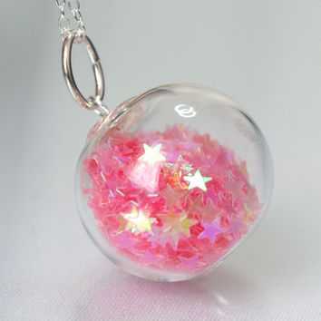 Candy Pink Star Glitter Hand Blown Glass Ball Sterling Silver Necklace by thestudio8 on Etsy