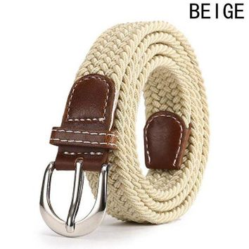 DCCKFS2 Leather Buckle Luxury Canvas Belts Fashion Women Men Belt Top Quality 2.5 Cm Wide Woven Stretch Braided Elastic