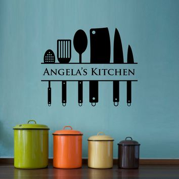 Kitchen Wall Decal - Custom Name Decal - Kitchen Utensil Wall Art - Large