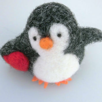 needle felted animal, penguin needle felted, cute children decoration, red heart , gift for her, needle felted animal, Felt Penguin, stuff