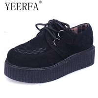 YEERFA 2017 Spring autumn Creepers Shoes Woman Lace Up Flats Shoes Creepers Platform Shoes Black Plus Size 35-41