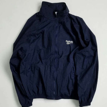 Navy Blue Reebok Nylon Windbreaker Jacket Size Large