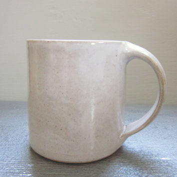 large rustic white coffee mug - 18 oz
