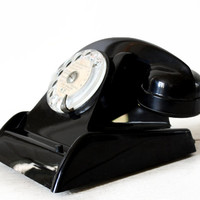 Beautiful MIDCENTURY CIT French Vintage black rotary telephone, C.I.T Ericsson