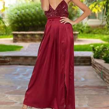 New Burgundy Maroon Patchwork Sequin Spaghetti Strap Backless Pleated V-neck Sparkly Glitter Birthday Elegant Party Maxi Dress