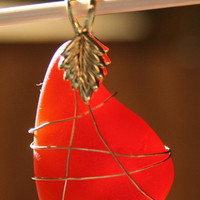 Red Sea Glass Pendant Wrapped in Copper Wire