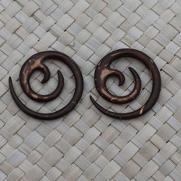 8g 3mm Small Spiral Gauge Earrings, Tribal Coconut Earrings, Organic Hand Carved Body Art Jewelry