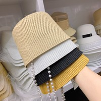 """Dior"" Summer Women Temperament Pearl Straw Fisherman Cap Bucket Hat All-match Sun Hat"