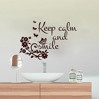 Wall Decals Keep Calm and Smile Quote Decal Vinyl Sticker Butterfly Pattern Bathroom Kitchen Home Decor Interior Design Art Murals MN371