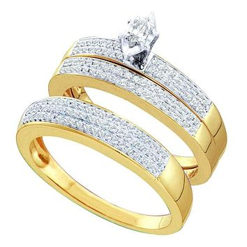 14kt Yellow Gold His & Hers Marquise Diamond Solitaire Matching Bridal Wedding Ring Band Set 1/2 Cttw - FREE Shipping (US/CAN)