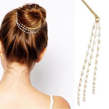 Fancy  Simple  Women Tassels Pearl Chain Hair Clip Hair Accessories Hairpin Hairband Dish 1PCS