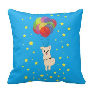 Puppy with Balloons Throw Pillow
