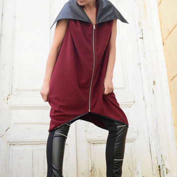 Wine Red Loose Vest/Burgundy Sleeveless Jacket/Oversize Black Collar Coat/Asymmetric Tunic Top/Extravagant Long Top/Plus Size Red Tunic
