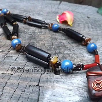 RESERVED Custom Order For Len M. Vintage Coco Reishi Wooden Necklace Petrified Copper Wire Pendant Tiger's Eye Nugget Beads Red Jasper Beads