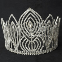 New Oversized Fashionable Rhinestone Diamond Wedding Crown Tiara Hair Pin Headband - Default