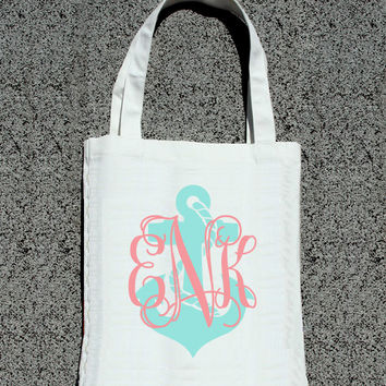 Monogram Destination Bridal Party Anchor Totes- Wedding Welcome Tote Bag