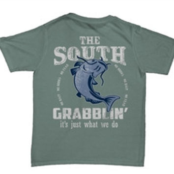Southern Belle The South Grabblin Fishing Comfort Colors Bay Unisex Bright T-Shirt