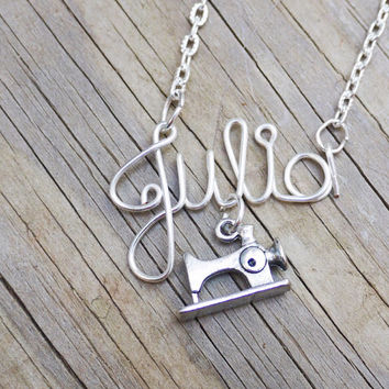 Sewing machine, seamstress, desginer name necklace