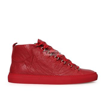 BALENCIAGA ARENA LEATHER HIGH TOP SNEAKERS ROUGE GRENADE FREE SHIPPING