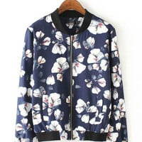 Blue Floral Print Zip Up Jacket