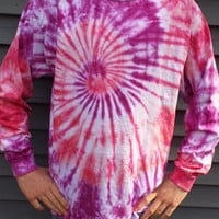 Long-Sleeve Tie-Dye Tshirt in Bright Boho Colors, unisex adult large TieDye T-Shirt, Hippie Shirt, Retro Tee, Mens Tiedye, Womens, 60s Party