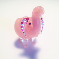 Pinky the Elephant- Pink Baby Elephant Glass Pipe with Rhinestones and Metal Wings Charm.