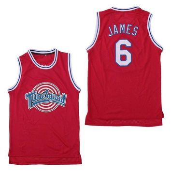 Space Jam Tune Squad 6 LeBron James Basketball Jersey Red