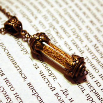 Hogwarts Hufflepuff House Points Glass Vial Bottle Pendant Necklace Harry Potter