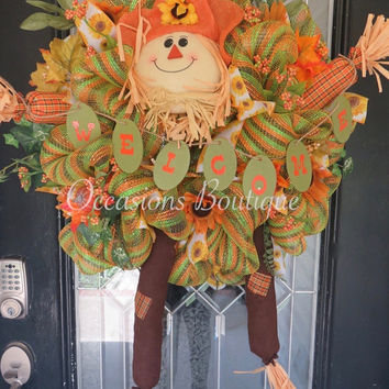 Fall Wreath, Autumn Wreath, Front door Wreath, Door Hanger, Wreath for Door, Scarecrow, Ready to Ship