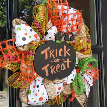 Burlap Halloween Wreath Trick ot Treat Wreath Chalkboard Pumpkin Halloween Decor Small Mesh  Wreath Halloween  Decor Pumpkin Trick or Treat