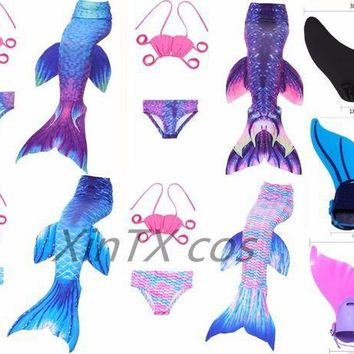 ESBON 2017 Kids Little Mermaid Tails Children Swimmable Swimsuit With Bikini Fancy Dress Girls Mermaid Tail Suit / Monofin costume