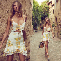 V-Neck Lemon Print Strap Vest Skirt Set Two-Piece