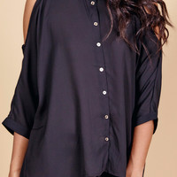 COLD SHOULDER BUTTON-DOWN SHIRT - SALE