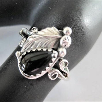 Native American Onyx Ring, John Delvin, Navajo Silversmith, Vintage Sterling, Southwestern Signed Sterling D,  Size 9.5