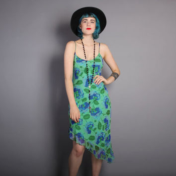 90s BETSEY JOHNSON / Asymmetrical Bias Cut Silk Floral DRESS, xs-m