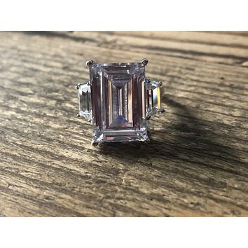 A Perfect 9.2CT Emerald Cut Russian Lab Diamond Ring