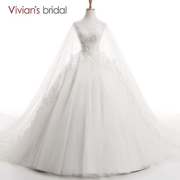 Bridal Beaded  Straps Bridal Gowns V Neck Cape Princess Wedding Dress Ball Gown