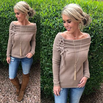 Lace Up Off the Shoulder Sweater:  Mocha